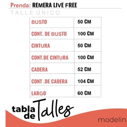 Remera Live Free Talles